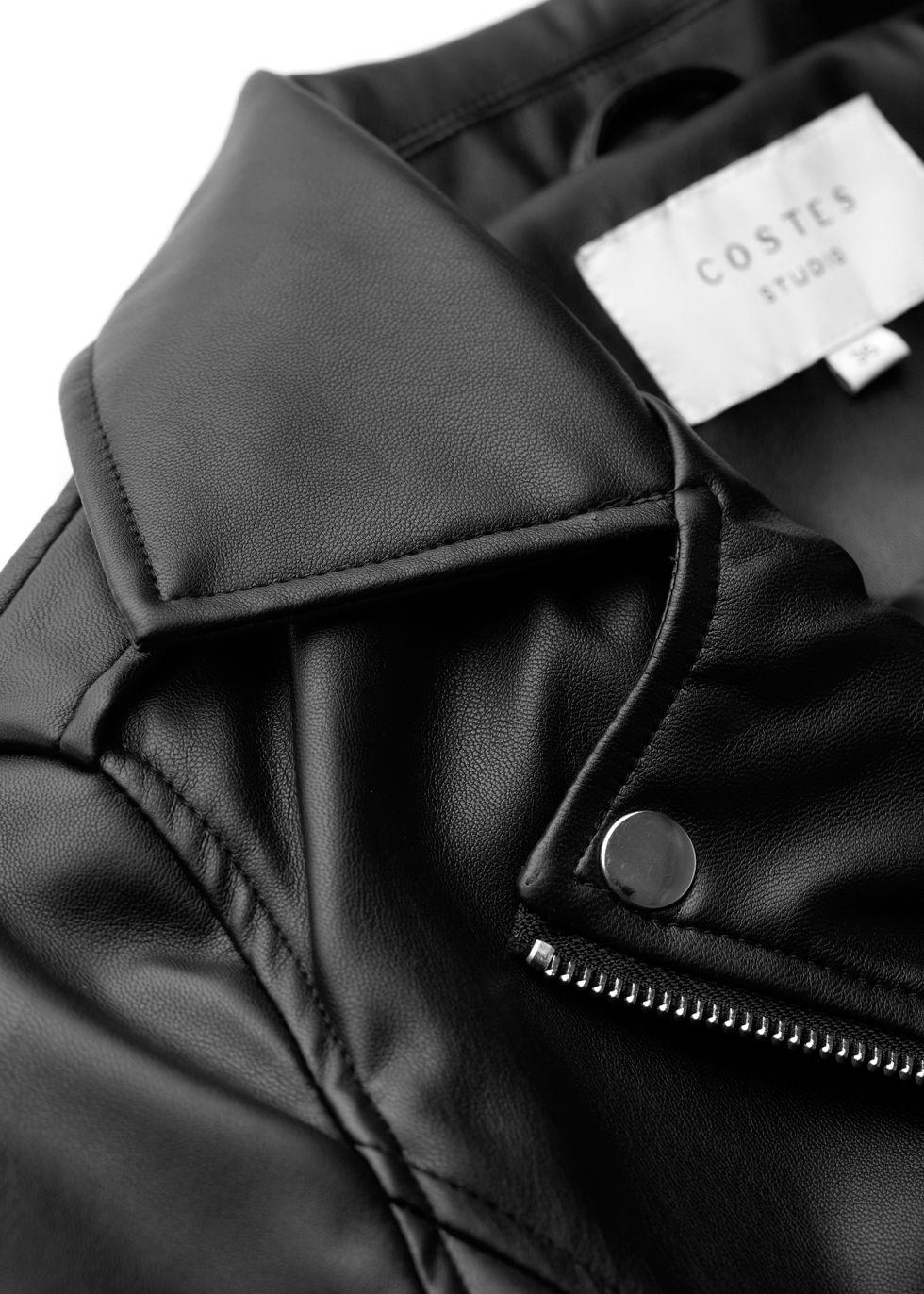Cropped Biker Jacket zwart