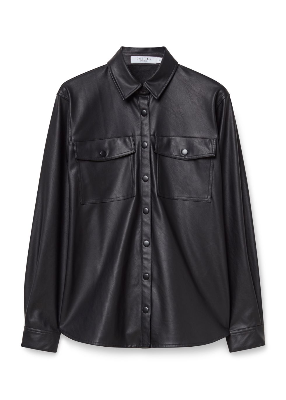 Faux Leather Blouse zwart
