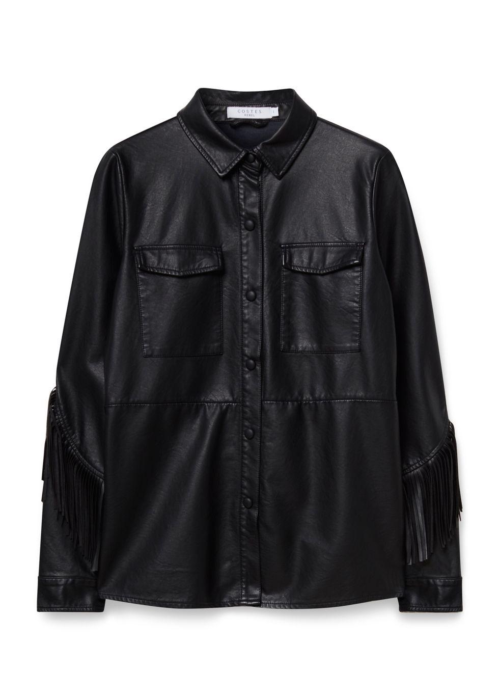 Pu Fringe Jacket zwart