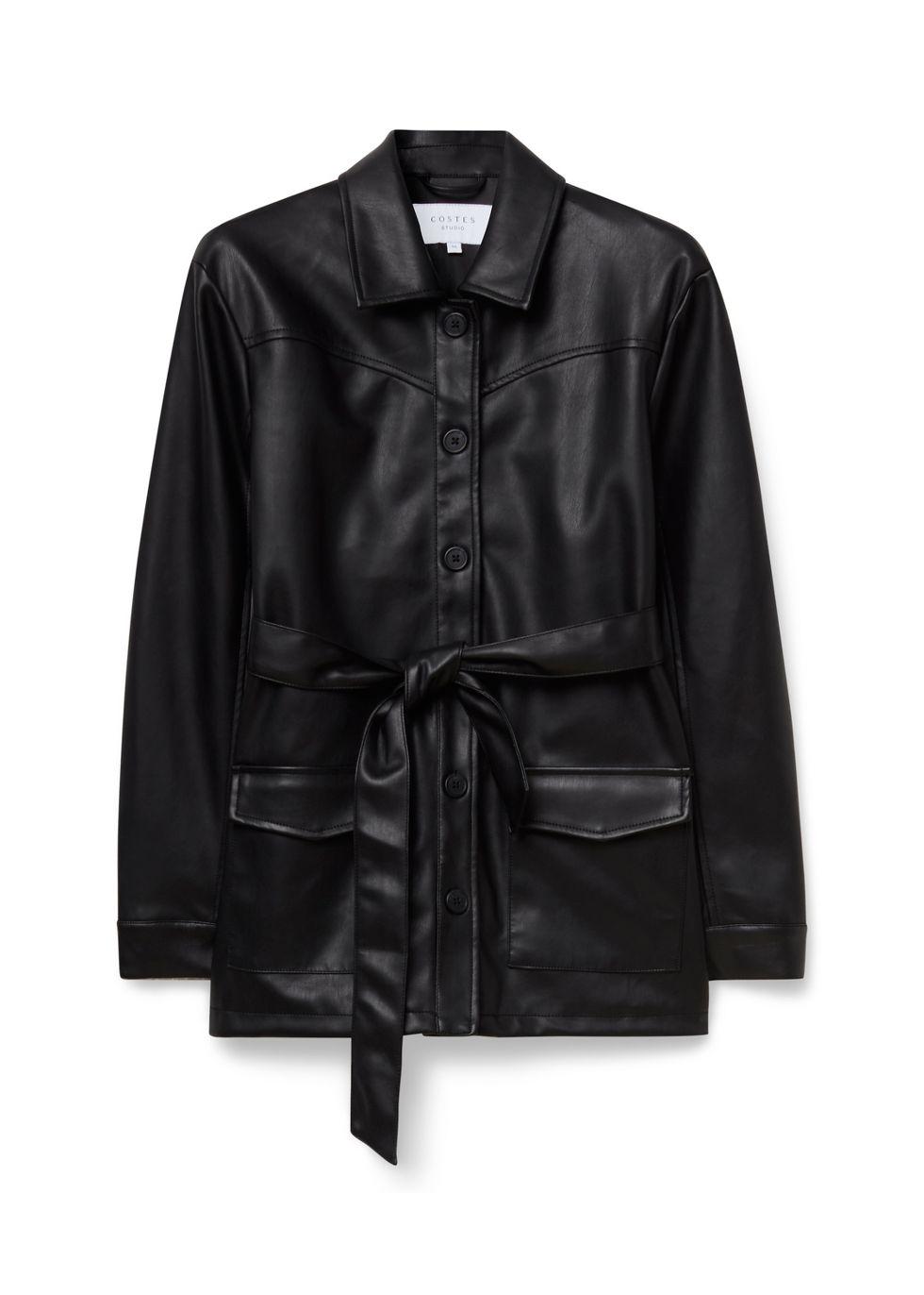 Pu Belted Jacket zwart